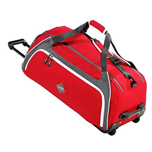 BODYPACK Sac de Sport 80L avec Canne télescopique et 1 Compartiment Chaussures aéré, Sac de Voyage à roulettes, Sac de Gym Grand Format Rouge