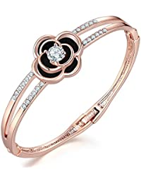 Jewels Galaxy Exclusive Limited Edition Elegant AD Floral Design 18K Rose Gold Plated Adjustable Bracelet For...