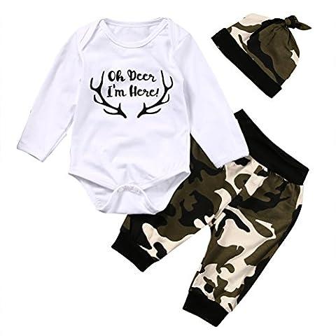 Bébé Garçon Ensemble Haut Blanc Ramure Imprimée Pantalon Couleur Camouflage+Chapeau (6-12m, Blanc)