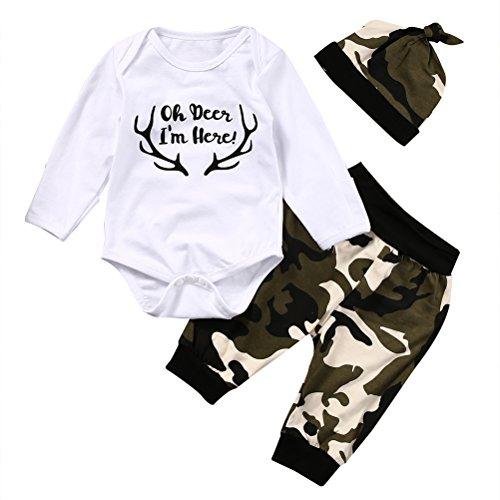 Bébé Garçon Ensemble Haut Blanc Ramure Imprimée Pantalon Couleur Camouflage+Chapeau (3-6m, Blanc)