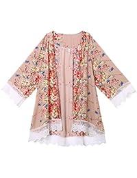 e6d8bfed4f43 Luoluoluo Copricostume Mare Donna Donna con Stampa Floreale in Chiffon con  Scialle in Kimono e Gilet con Maniche…