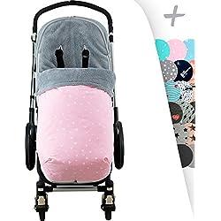 Saco de abrigo Universal con forro polar para cochecito y silla de paseo, Impermeabilizado Pink Sparkles Janabebé®