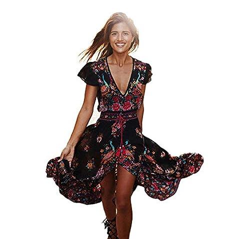 Femmes Robe bohême IHRKleid® Femme Robe Elegant manche courte Rétro Imprimé Floral Col V profond en Vacances D'été (S)