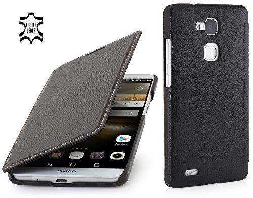 StilGut - Book Type Case ohne Clip, Hülle aus Leder geeignet für Huawei Ascend Mate 7, schwarz