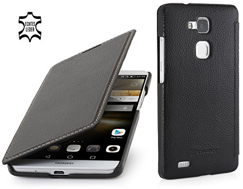 StilGut Book Type Case ohne Clip, Hülle aus Leder für Huawei Ascend Mate 7, schwarz
