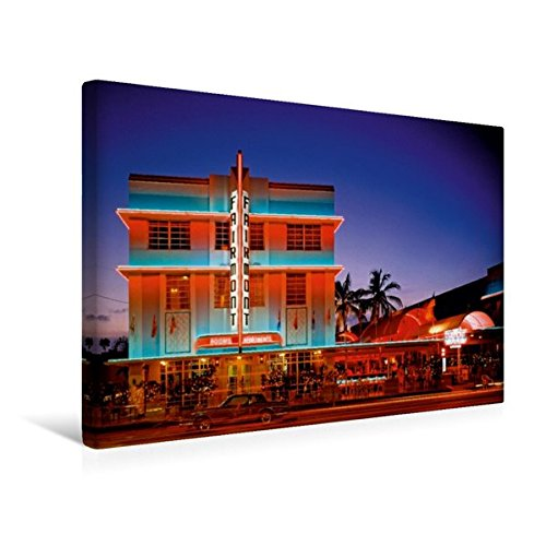 South Beach Miami Art Deco (Premium Textil-Leinwand 45 cm x 30 cm quer, Todschick – die historischen Gebäude im Art Deco District am South Beach | Wandbild, Bild auf Keilrahmen, ... Miami Beach, Florida, USA (CALVENDO Orte))