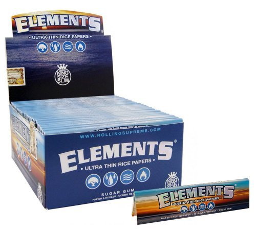 Elements King Size Ultra Thim Slim Rice Rolling Papers - 5 Booklets by Elements (Rolling Elements Paper)