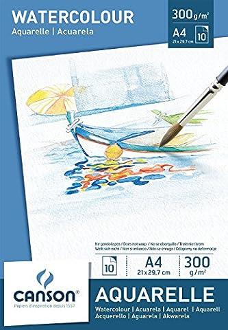CANSON Lot de 3 Blocs 10 feuilles Papier aquarelle 300g 21 x 29,7 cm A4 Blanc