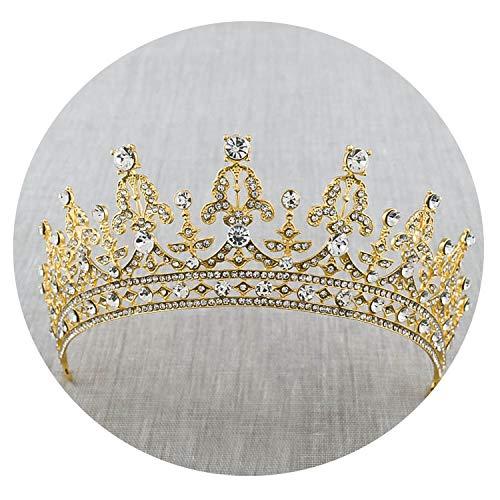 Davids Bridal Tiara (2018 neue Art und Weise Barocker Luxus Kristall AB Brautkrone Tiaras Light Gold Diadem Diademe für Frauen Braut Hochzeit Haarschmuck, Stil 4 Gold)