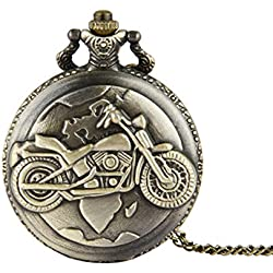 PSFY Vintage Motorcycle Quartz Movement Arabic Numerals Pocket Watch with Chain Gift