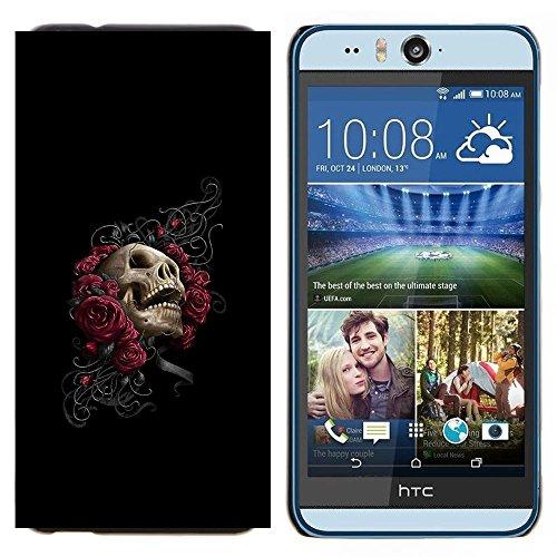 Harte PC Hülle Tasche Schutzhülle HandyHülle / Hard Case for HTC Desire Eye M910x / Phone Case TECELL Store / Floral Rose Skull - Goth Floral Rose Skull - Goth