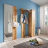 3-tlg Garderobenset Eiche massiv natur Garderobe Flurmöbel Kleiderschrank