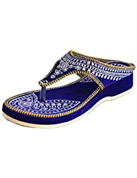 Women's Blue Velvet Flip Flop Slipper, Size : 5