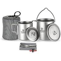 tomshoo leicht Titanium 3Stück Set 750ml Tiegel, 450ml Wasser Tasse mit Deckel Klappbarer Griff Göffel zum Zusammenklappen für Outdoor Camping Wandern Rucksackreisen