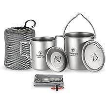 TOMSHOO 3 en 1 Kit de Titanio Olla + Taza + Tenedor-Cuchara Ideal para