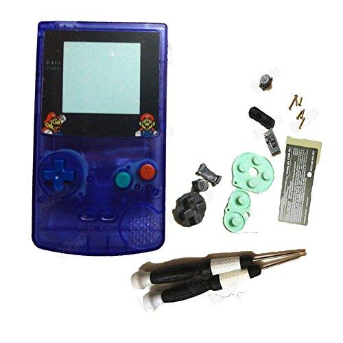 Hot Sale transprent Blau Farbe Spiel Kunststoff Gehäuse Fall für Nintendo GBC Gameboy Color Shell mit Mario Logo Objektiv ersetzen mit Farbigen Tasten mit X/Y Schraubenzieher