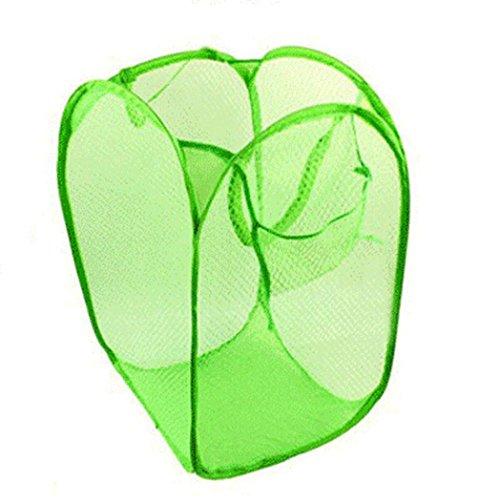 HKFV Neue Faltbare Pop Up Waschen Kleidung Wäsche Korb Tasche Hamper Mesh Storage (Grün) (Großhandel Kompression Kleidung)