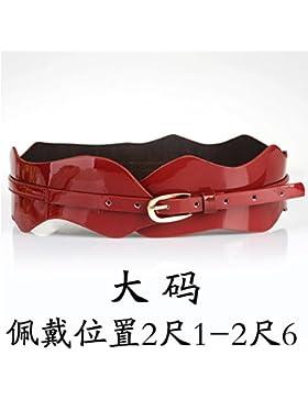 SILIU*La Sra. cinturilla ancha de cuero elegante y versátil amplias fajas de cuero cuero barnizado femenino salón...