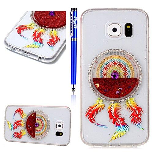 FESELE Cas pour [Samsung Galaxy S6] Téléphone Silicone Transparent Mince Couverture Quicksand Liquide Coulant Glitter Love Heart Crystal Case Samsung Galaxy S6 Housse en TPU Cute Peinture Colorée Drea rouge