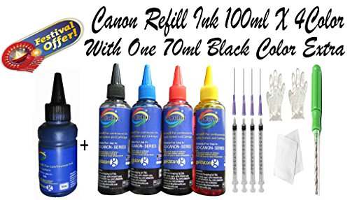 GoColor Premium Best High Quality Canon Compatible Inkjet Refill Ink Bottle Kit with 4 Color in 100 ml + 70 Ml Black ink Extra with Syringe, needles & 1 Drill For Refilling Inkjet Printer Cartridge For Accurate Printing. …  available at amazon for Rs.630