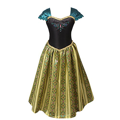 iEFiEL Robe Costume Déguisement Classique Enfant Filles Princesse Manches courte 3-8 Ans (5-6 Ans, Vert)