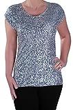 EyeCatch - Damen Sequin mit rundem Halsausschnitt mit Flugelarmeln Bluse Frauen Tunika
