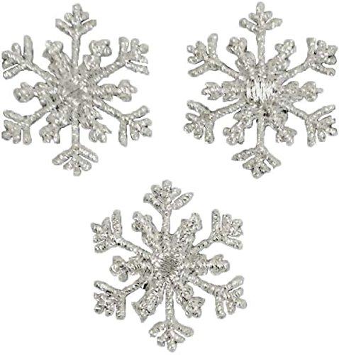 Expo International Christmas, klein AST Schneeflocke Bügelbild Aufnäher Trim Verschönerungen, Silber, 3er Pack