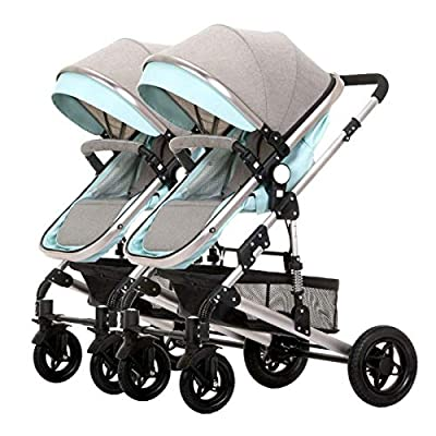 CCJW Double Strollers Baby Pram Tandem Buggy Newborn Pushchair Ultra Light Folding Child Shock Absorber Trolley Can Sit Half Lying 0-3 Years Old,60kg Maximum