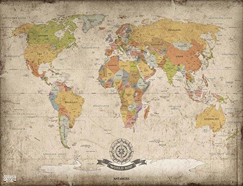 large vintage antique world map xxl poster 140x100 cm. Black Bedroom Furniture Sets. Home Design Ideas