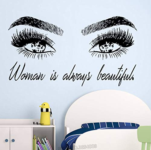Preisvergleich Produktbild Woman Make Up Wall Sticker Eye Eyelashes Wall Decal Lashes Extensions Beauty Shop Decor Eyebrows Brows Mural Beauty 42 * 77cm