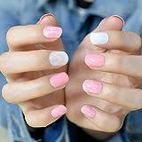 echiq Rosa Marmor kurz Falsche Nägel Tipps Weiß Pink Full-Cover ABS Künstliche UV Fake Nail Maniküre Faux Ongles