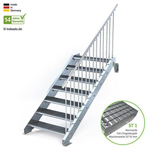 Außentreppe 7 Stufen 90 cm Laufbreite – einseitiges Geländer rechts - Anstellhöhe variabel von 116 cm bis 140 cm - Gitterroststufe ST1 - feuerverzinkte Stahltreppe mit 900 mm Stufenlänge als montagefertiger Bausatz