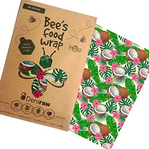 Deniraw Bee's Wrap Wachspapier, Kokosnuss, Set mit 3 Stück, Verschiedene Größen, gratis E-Book - gesunde Vegan Desserts -