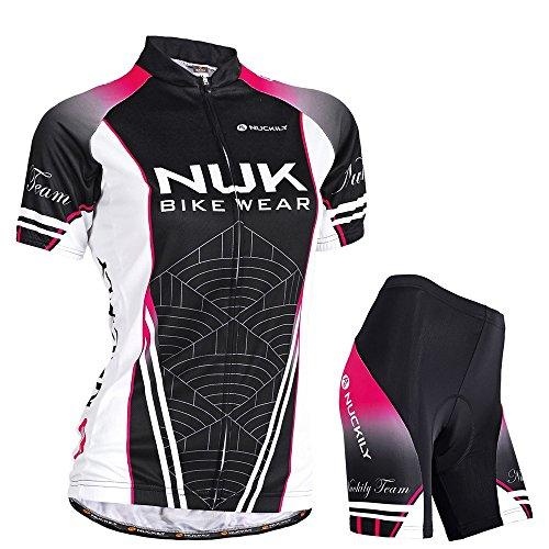 Nuckily Damen-Fahrradtrikot Fahrrad Sublimated Jersey und dehnbar, mit Gel gepolstert kurz Anzug xl schwarz