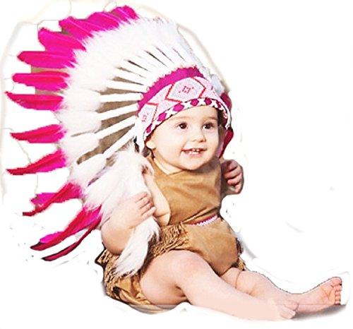 Monate Kleinkind / Baby: Rosa Native American Style Indianer Kopfschmuck für die kleinen! (9 Monat Halloween-kostüm)