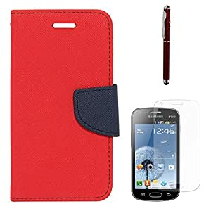 Mercury Goospery Diary Flip Wallet Cover For Samsung Galaxy S Duos S7562 (Red) + Laser Torch Stylus Pen + Matte Screen