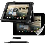 kwmobile 3in1 Set: Hülle für Acer Iconia A1-810 / A1-811 mit Ständer - Kunstleder Tablet Case Cover Tasche Schutzhülle in Schwarz + Folie, kristallklar + Stylus, Schwarz