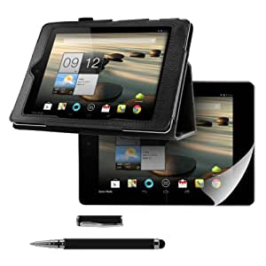 kwmobile 3in1 set: Elegant synthetic leather case for Acer Iconia A1-810 / A1-811 in black with convenient STAND FEATURE + Skin, crystal clear + Stylus, black