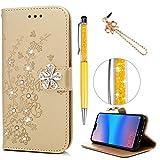 Huawei P20 Lite Hülle Case, Filp PU Leder Wallet Handyhülle Flipcase : Bookstyle Pflaume mit Diamanten Tasche Brieftasche Schutzhülle in Lokales Gold + Anti Staub Stöpsel + Stylus