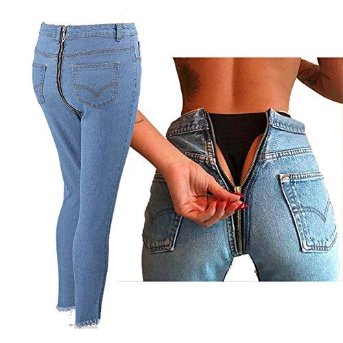 Jeans Damen Straight Jeanshose High Waist Stretch Denim Hosen Mit Hinterem Reißverschluss Sexy Bleistift Hose Casual Jeanshosen Hibote (Bootcut-velours-hose)