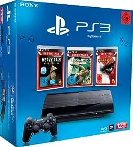 SONY PlayStation 3 (12 GB) inklusive 3 Spiele (God of War 3 Essentials, Heavy Rain Essentials, Uncharted: Drake's Schicksal Essentials)