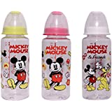 Kidzvilla 250 Ml 100% Bpa Free Mickey Mouse Crystal Baby Feeding Bottle. Pack Of 3