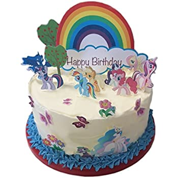 My Little Pony Happy Birthday Scene Edible Wafer Paper Cake