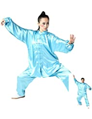 zooboo Unisex Seda de Corea del Sur Uniforme de Tai Chi Kung Fu trajes, Lake Blue