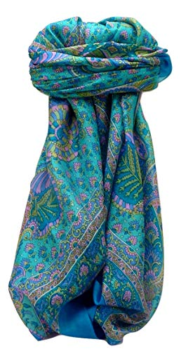 Pashmina & Silk Tradizionale Sciarpa Quadrata di Seta Osh Aqua