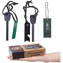 Magnesio Acciarino, Diealles Magnesium Fire Starter Kit Flint (2 Fire Starter+Ruler + Whistle), Ideale per Campeggio e Escursioni,Emergenza