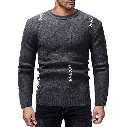 Xmiral Herren Pullover Strickwaren Herbst Winter O-Neck Striped Outwear Gestrickte Top (L,Dunkelgrau)