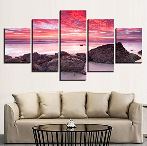 ild wohnzimmer 5 stücke flamme sonnenuntergang glühen strand seelandschaft malerei HD druckplakat dekoration ()