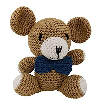 LOOP BABY Teddybär aus 100 % Bio-Baumwolle – gehäkelter Bär – brauner Teddy mit blauer Schleife – gehäkeltes Kuscheltiere – 13 cm