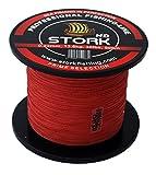 Stork HD, 4-Fach geflochtene Angelschnur 600m (Rot, 15 lbs / 6.8kg / 0.15 mm)